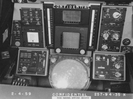 Rear cockpit for weapon system operator.  Notice huge analog radar display lower center