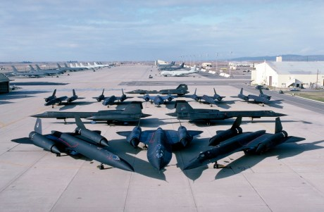 11 operational SR-71s at Beale, date unknown. I would guess late 80s by the paint schemes on the tankers in the background