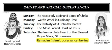 St. Mark's San Antonio 062214 bulletin Ramadan note