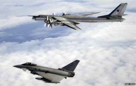 RAF Typhoon F.2 escorts Tu-95MS