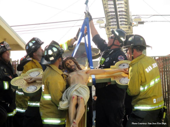 Beautiful Italian Crucifix miraculously survives church fire