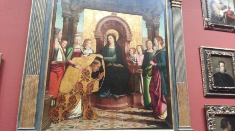 This work was unmarked.  What is this scene?  Our Lady consecrating a bishop?!?  I really loved this piece, it as 10' x 8' easily and had amazing detail.  Really impressive, I could have sat looking at it for an hour.