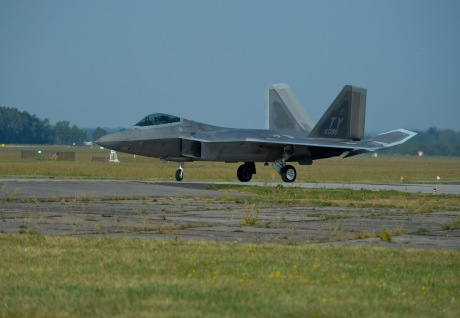 A U.S. Air Force F-22 Raptor taxis on the flightline at Lask Air Base, Poland, Aug. 31, 2015. The deployment represents the inaugural F-22 training deployment to Europe and is funded by the European Reassurance Initiative, which is intended to increase the capability, readiness and responsiveness of NATO forces in part by funding rotational force presence in Eastern Europe. (U.S. Air Force photo by Staff Sgt. Joe W. McFadden/Released)