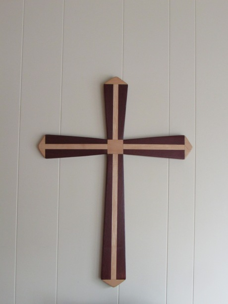 "Hand-made wooden cross, laminated from exotic purple heart and white maple, approximately 28"" long, normally sells for $200, special blog price $125"