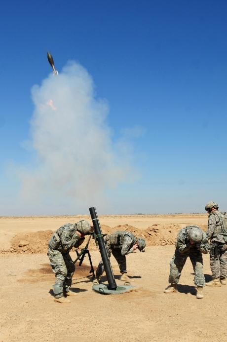 090326-A-5049R-116        U.S. Army soldiers from Delta Company, 1st Battalion, 63rd Armor Regiment, 3rd Brigade Combat Team, 1st Infantry Division fire an M120 120mm mortar system during training for Iraqi soldiers in Mahmadiyah, Iraq, on March 26, 2009.  DoD photo by Sgt. Kani Ronningen, U.S. Army.  (Released)