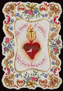 sacred heart bird hand painted colorful