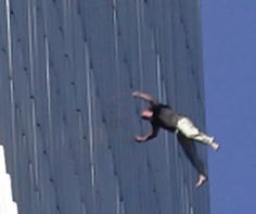 World Trade Center terrorist attack - a body falls out the window of the World Trade after the attack --WORLD TRADE CENTER-EXPLOSION-BOMBING-WTC