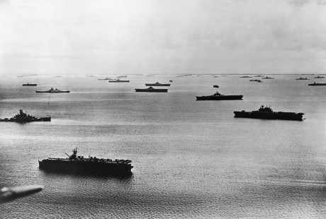 Fifth Fleet at anchor, Majuro Atoll, Dec. 1944.  Pictured are 5 CVs, 3 CVLs, and at least 3 BBs -  less than half the fleet's strength at the time.  Note, 3rd and 5th fleets contained the same ships but changed name when command transitioned from Halsey to Spruance.